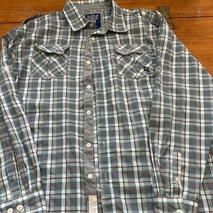 Men's 4xl blue grey white black Akademiks shirt